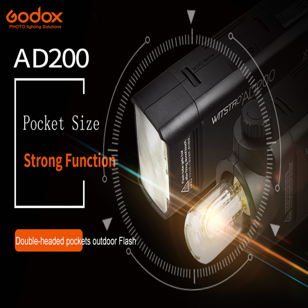 Godox AD200 Pocket Flash  with Lithium Battery Pack speedlite High-speed photographic lighting For Canon Nikon Sony 200W TTL w extra battery godox v860n speedlite i ttl speedlight flash light high speed godox ft 16s wireless trigger kit for nikon dslr