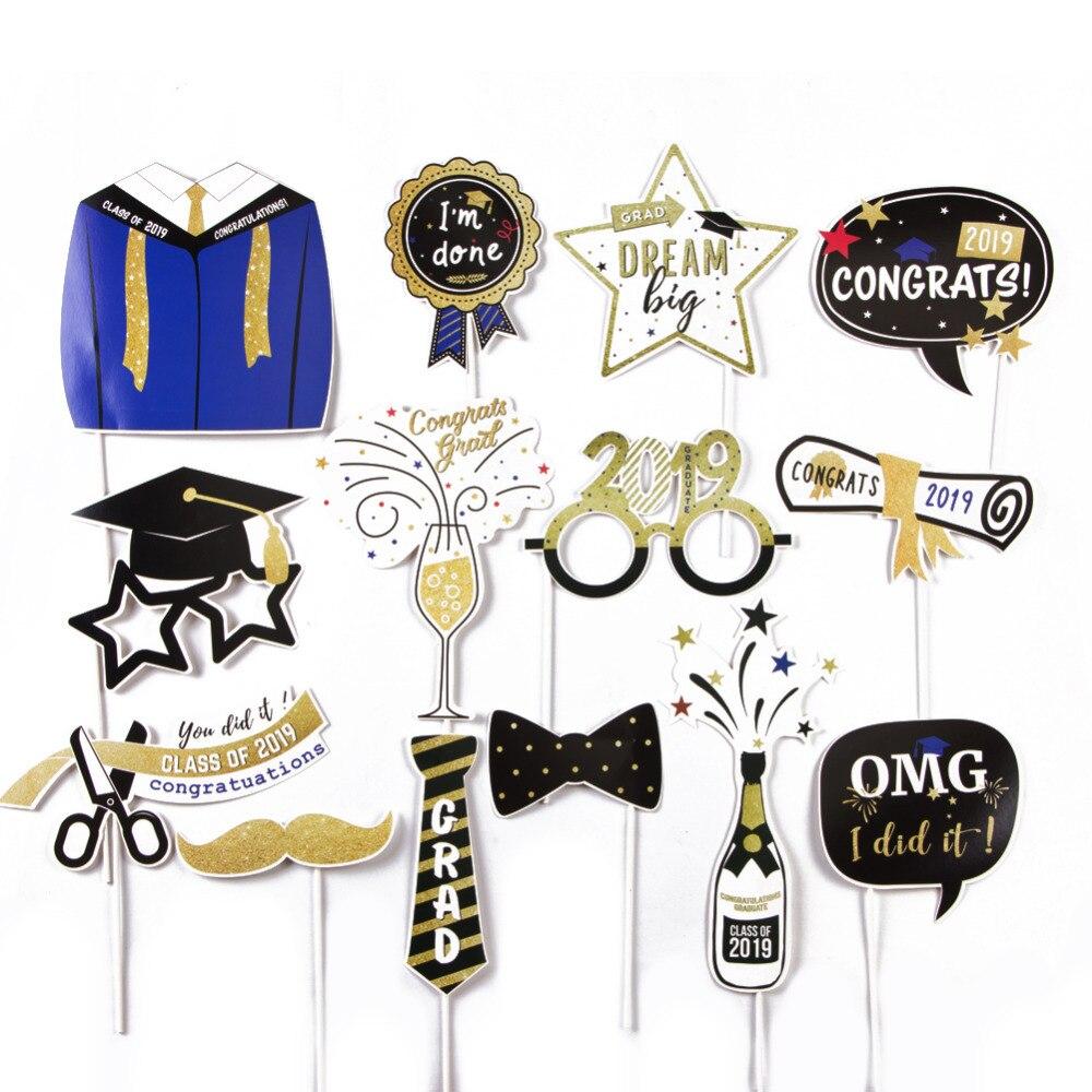14pcs 2019 Graduation Photo Booth Props Class of Congrats Grad High School Senior Prom Party Gold Glitter