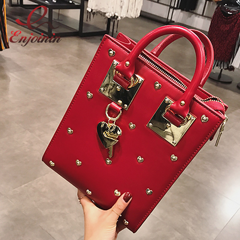 New style designer metal heart-shaped decoration pu leather ladies handbag shoulder bag totes flap crossbody messenger bag pouch