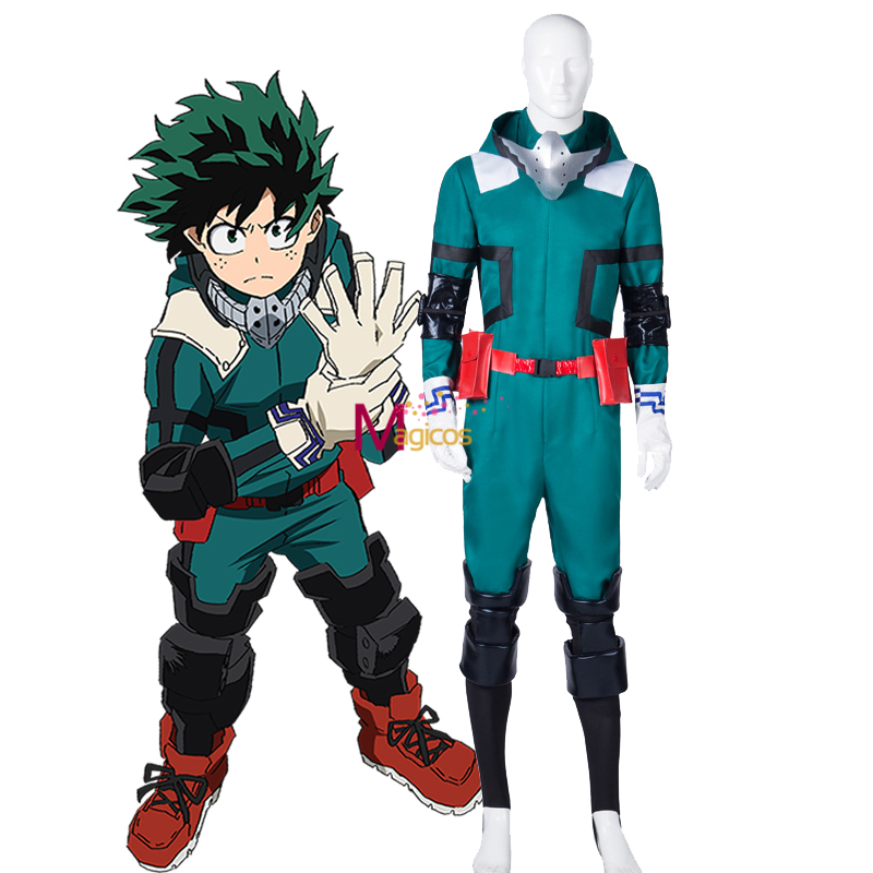 Anime My Boku No Hero Academia  Izuku Midoriya Cosplay Costume Deku Combats Uniform Outfit Jumpsuit Wig Shoes Costumes