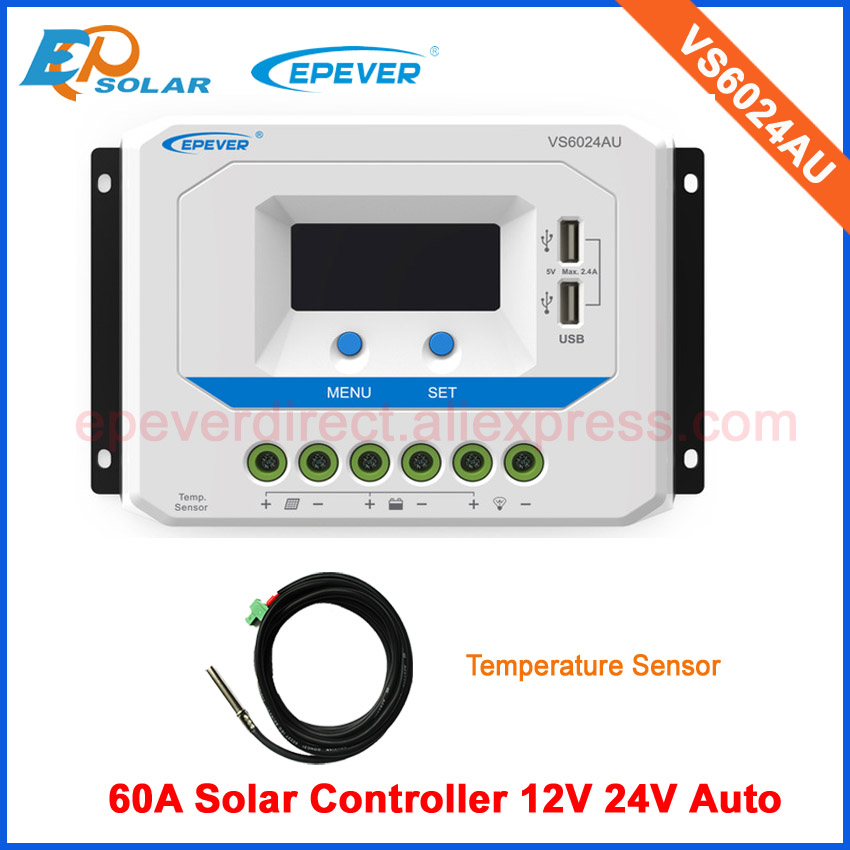 Solar power panel charger controller for 12v 24v auto type PWM 60A VS6024AU with temperature sensor vs6048bn 60a 24 48v auto pwm controller network access computer control can connect with mt50 for communication