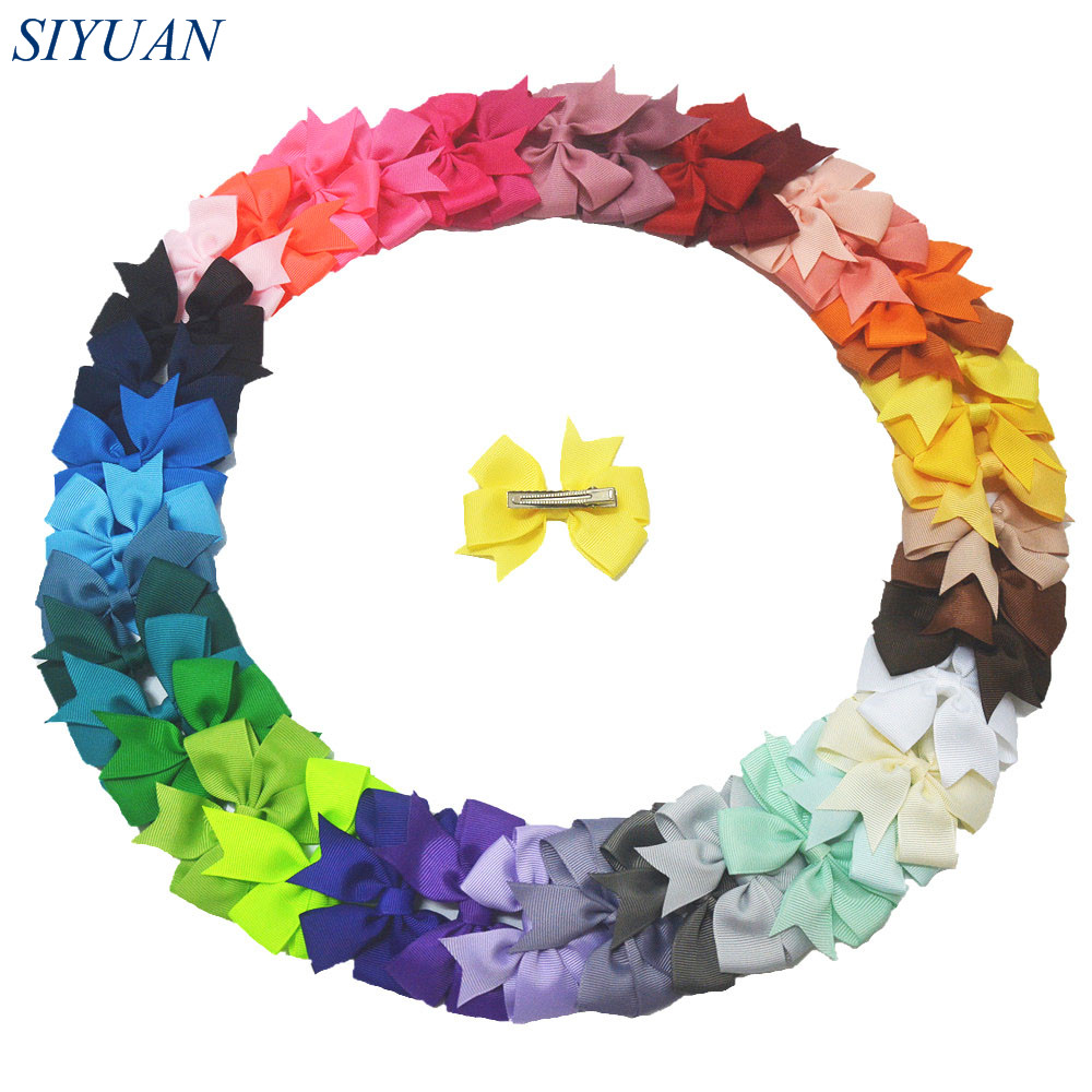 40pcs/lot 3 Grosgrain Ribbon Hair Bow WITH Clip Little Girl Fashion Hairpin 40 Colors for Choose Knot Photography Props FC11 9356 women hair clip fashion hair claw black hairpin hair accessories for women simple hair crab clamp 2 7 2cm 12pcs lot