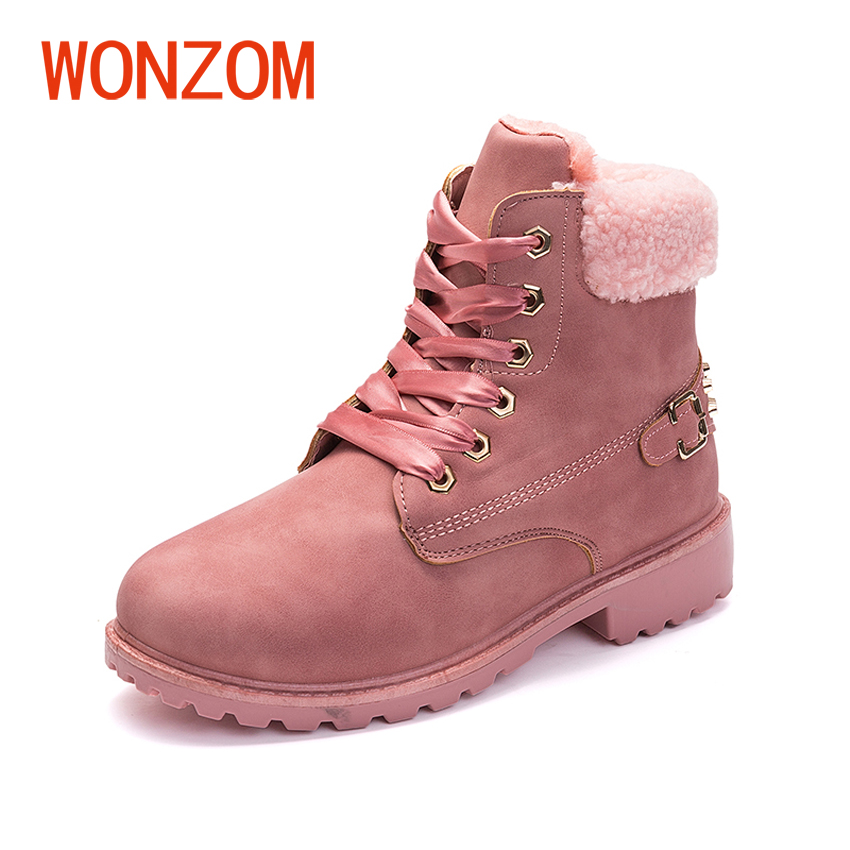 WONZOM Winter New Women Snow Boots Solid Lace-Up Casual Ankle Boots British Style Round Toe Female Shoes Plush Warm Snow Boots цены онлайн