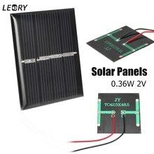 LEORY 2 шт. 0,36 Вт 2 в мини поликристаллические солнечные панели, DIY зарядное устройство, наборы модулей солнечных батарей для 1,2 В батареи