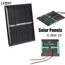 LEORY 2pcs 0.36W 2V Mini Polycrystalline Solar Panels DIY Battery Charger Solar Cells Module Kits For 1.2V Battery