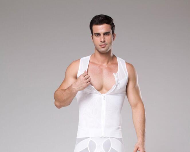 fb8148476ab Slimming Boobs Shapers Men Zipper Slimming Abdomen Control Corset Big Belly  Tummy Trimmer Compression Vest