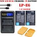 Baterías 2x lp-e6 lp e6 lpe6 batería + lcd dual cargador para canon eos 5DS R 80D 6D 7D 5D Mark II 5D Mark III EOS 5DS R cámara