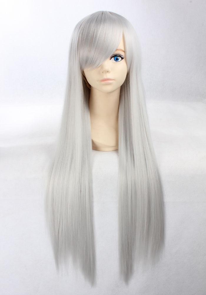 Thick 80cm Straight Silver Gray Hair Wigs Rozen Maiden