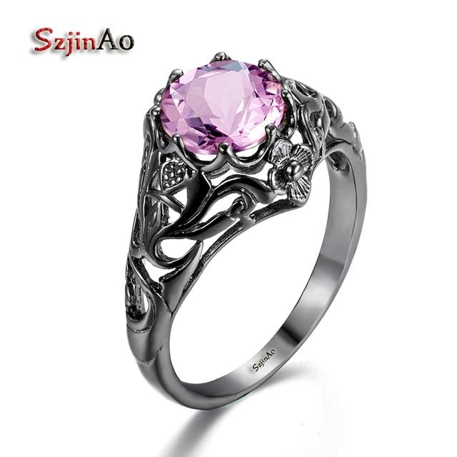 Szjiano Ethnic Style Charm Pink Stone Ring Fashion Women Wedding Flower Jewelry Black Gold Color Engagement