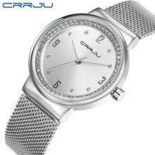 חדש למעלה מותג CRRJU שעון נשים יוקרה שמלת מלא פלדה שעונים אופנה מקרית גבירותיי קוורץ שעון כסף נשי שולחן שעון
