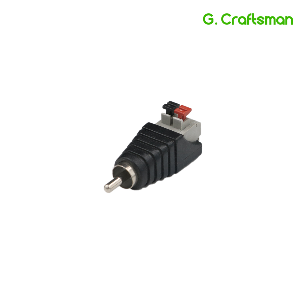 RCA Male Plug Push Fastening Type 12V Connector CCTV Cameras Socket Adapter System Accessories B29 G.Ccraftsman