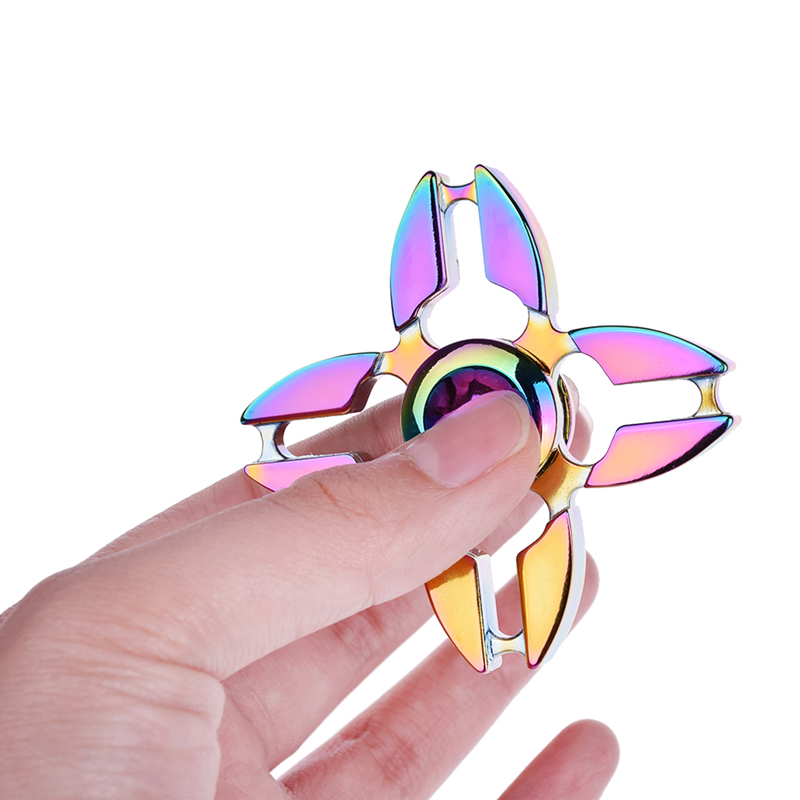 New Rainbow Hand Finger Fidget Spinner Fun Hand Game Desk Focus Toys Anxiety Stress Spinning Top Metal EDC Tri-Spinner Toy