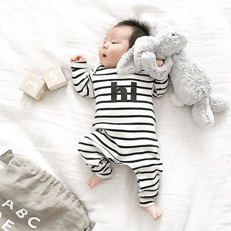 High quality boys girls striped HERO HI long sleeve romper fashion infant cotton overalls newborn casual clothes jumpers 17J701