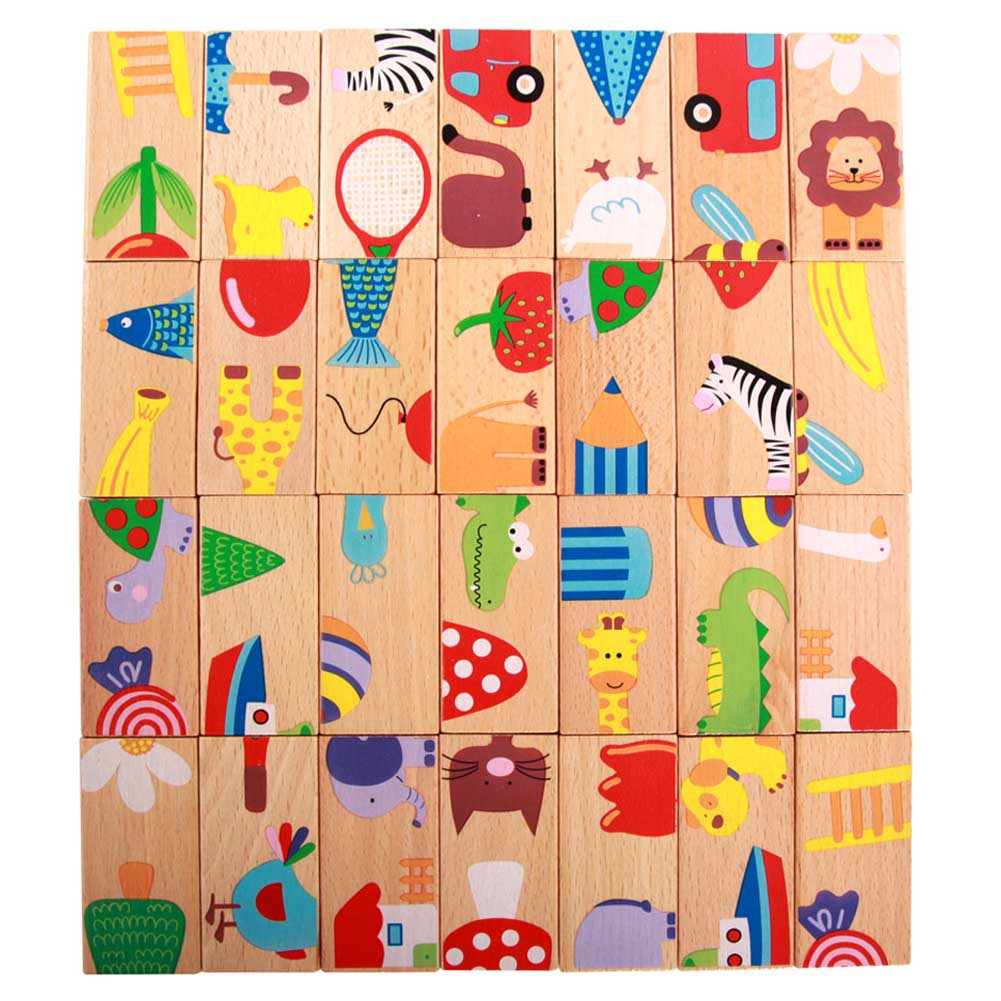 Friendly 28pcs/set Animal Colored Dominoes Wooden Puzzle Cartoon Montessori Educational Baby Toys Cute Birthday Gifts Funny Kids Games Large Assortment