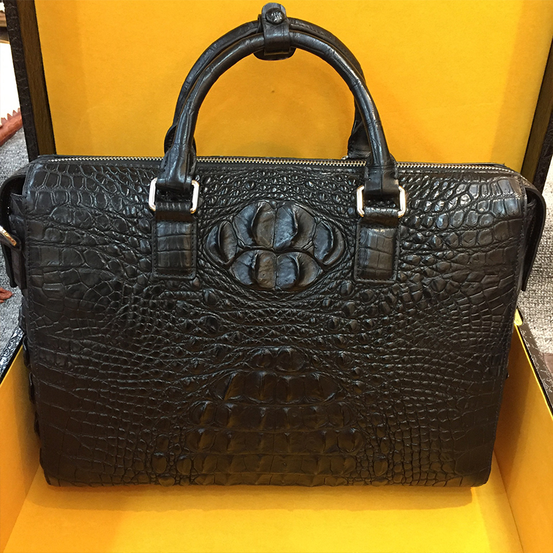 genuine crocodile handbag man business alligator briefcase vintage Men's Travel Bags leather Messenger Laptop bag  for 14 inch