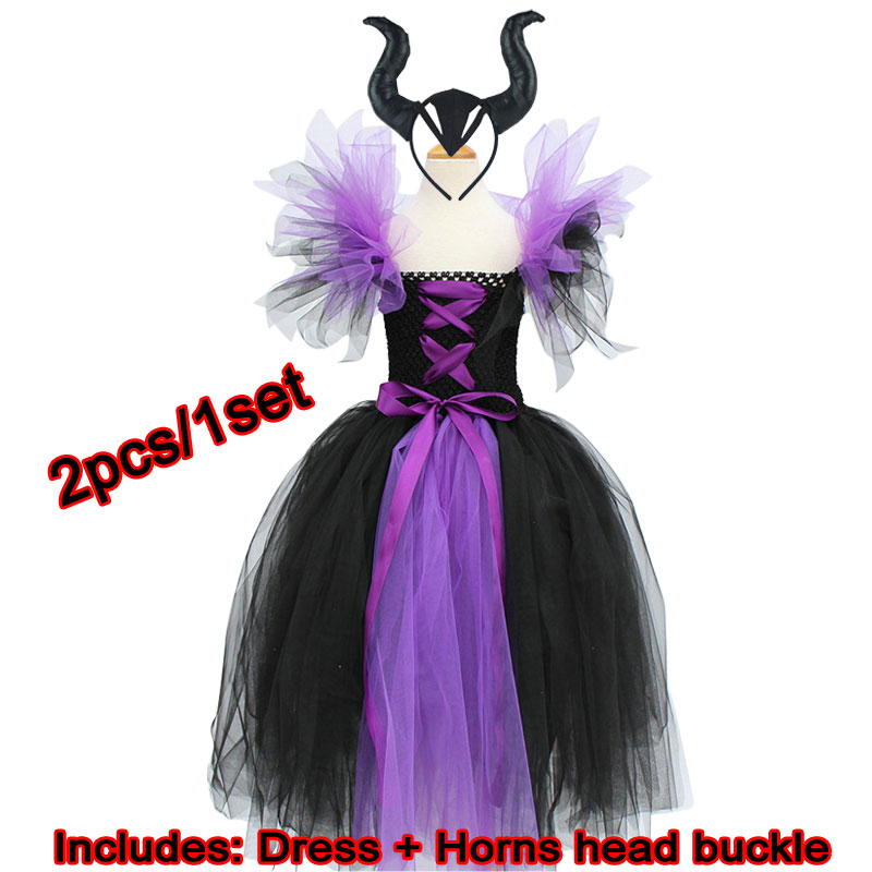 Maleficent Of Evil Queen Tutu Skirt For Girls Dress With Horns Halloween Witch Costume For Cosplay For Girls Children's Holiday