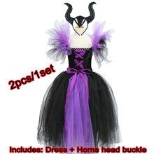 Юбка пачка Maleficent of evil queen для девочек, платье с рожками, костюм ведьмы на Хэллоуин для косплея для девочек, Детские праздники