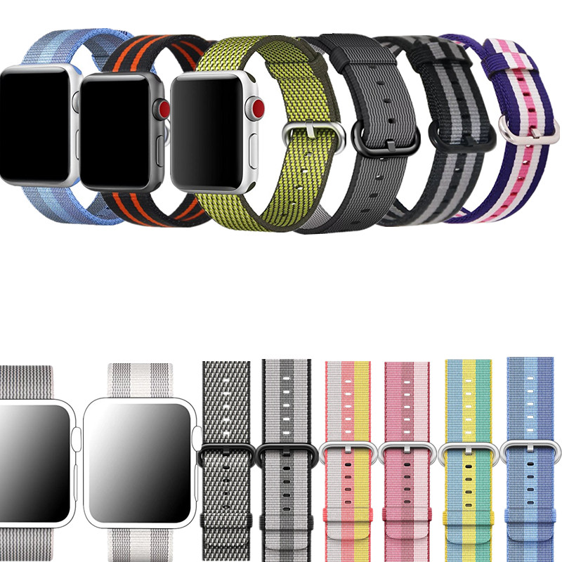 ASHEI Woven Nylon Sport Strap For Apple Watch Band Nylon 42mm Series 3 Bracelet 38mm Replacement Straps For iWatch Series1/2