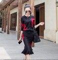 Мода Женщин Свитер И Юбка Установить 2016 Новых Печатных Кардиган + рыбий хвост Юбки Twinset Сексуальная Трикотажные Костюм Женщины 2 Шт. набор