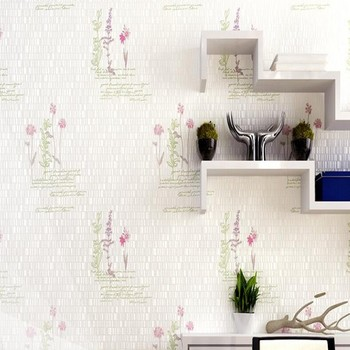 Romantic flowers non-woven bedroom full floor wallpaper coffee shop apartment light green letter wallpaper