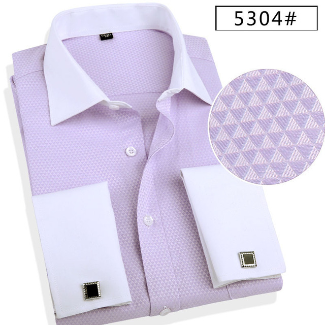 2017 new men's french cufflinks shirts High quality long sleeve dress shirt for man Bussines formal shirts with french cuffs