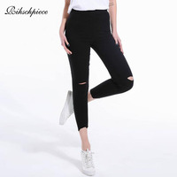 Rihschpiece 2018 Winter Plus Size 4XL Leggings Women Ripped Punk Pants Black Thick High Waist Jeggings Legging Trousers RZF1499