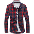 Kcoyster Mens Plaid Shirts Spring Casual Soft Checks Shirts Men Slim Fit Long Sleeve Fashion Red Checkered Clothing Plus M-5XL