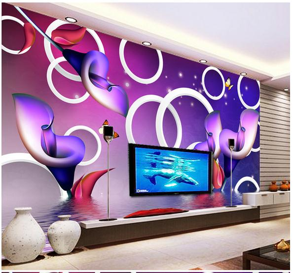 3D wallpaper custom mural beauty non-woven wall-paper Dream flower reflection circle 3 d TV setting wall wallpaper 3d wallpaper custom mural non woven wall sticker black and white wood road snow tv setting wall painting photo wallpaper for 3d
