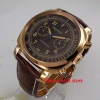 Роскошные Parnis мужские часы 44 мм Золотой Дело кофе циферблат Полный кварцевый хронограф наручные часы для мужчин 1241