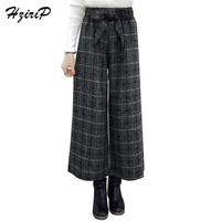 HziriP Women Woolen Warm Pant Autumn Winter Elastic Waist Wide Leg Straight Bow Bandage Casual Trousers