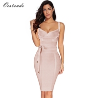 Ocstrade Women Bandage Dress 2018 Rayon Sleeveless Summer New Arrivals Sexy Deep V Neck Vestido Bodycon