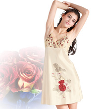 2016Spring Summer Ms. Sexy Enchanting High-grade Emulation Silk Condole Belt Nightgown V-neck Embroidery Sleepshirts
