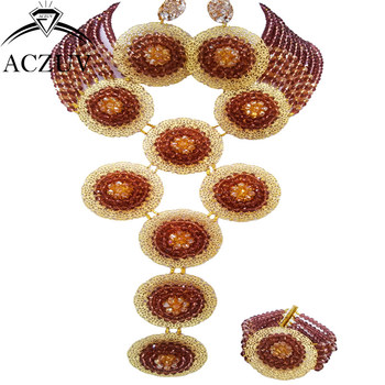 ACZUV Brand Dark Purple and Gold AB African Wedding Jewelry Set for Women Nigerian Beads Necklace and Earrings Bracelet A10R011