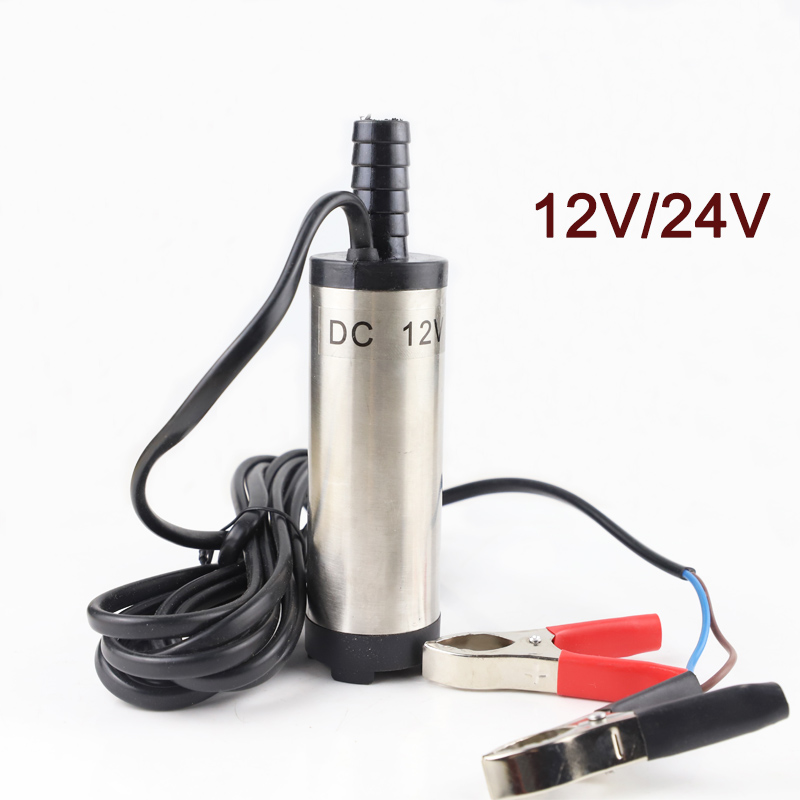 12V 24V DC electric submersible pump for pumping diesel oil water,fuel transfer pump,Stainless steel shell,12L/min,12 24 V volt image