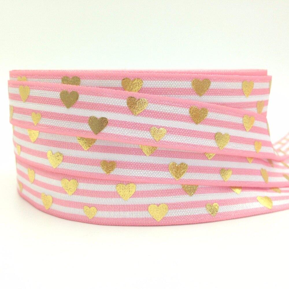 "1 yard Light pink stripe w// metallic gold polka dot 5//8/"" fold over elastic FOE"