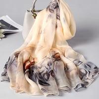 Air Conditioning Shawl Female Baitao Summer Silk Chiffon Long Silk Scarf in 2019,Korean Printed Sunscreen Seaside Towel