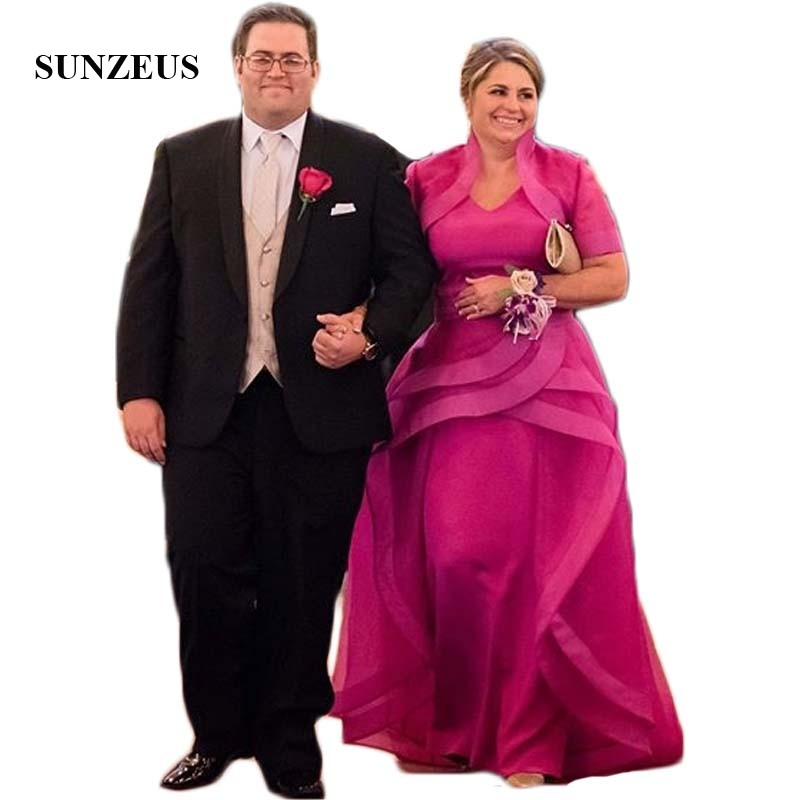 Fuchsia Mother of the Bride Dress with Jacket Tiers Skirt Plus Size Wedding Party for Women Groom Formal Gown SMD35