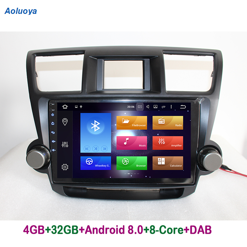 Aoluoya RAM 4GB Octa-Core Android 8.0 CAR Radio DVD GPS Navigation For Toyota Highlander 2009-2014 Audio multimedia WIFI DAB+ 3G