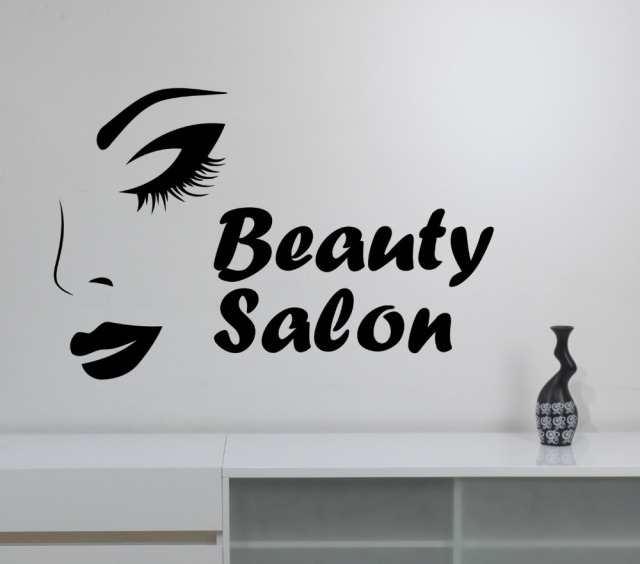 Elegant Woman Face Wall Decal Quote Beauty Salon Logo Stickers Vinyl Girls Eyes Lips Make