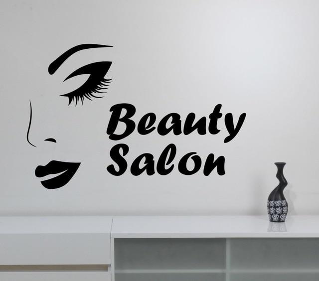 Elegant Woman Face Wall Decal Quote Beauty Salon Logo Stickers Vinyl Girls Eyes Lips Make