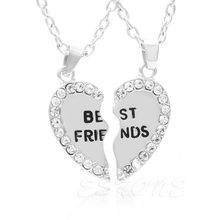 Drop&Wholesale 1Pair Rhinestone Half Love Heart Pendant Best Friends Necklace Friendship Gift APR28(China)
