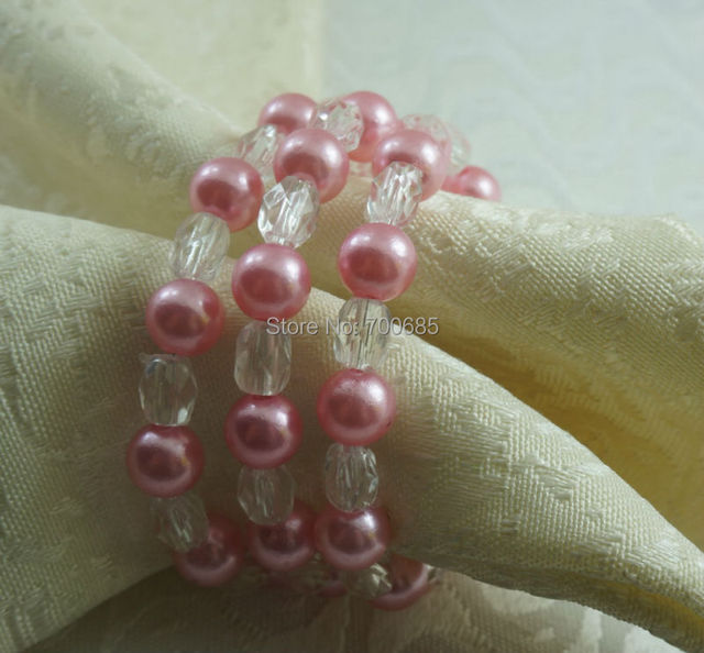 pink pearl ring napkin wedding wholesale napkin ring bulk napkin