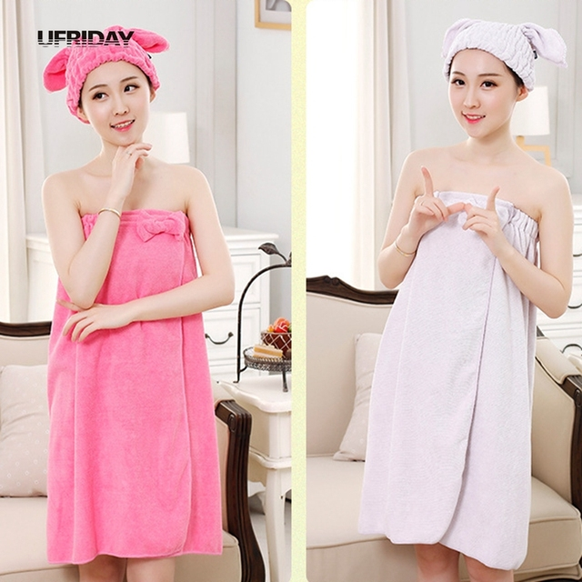 4a650cdf1c UFRIDAY Women Bath Towels Soft Wrap Skirt Towel + Hair Turban Towel Beach  Spa Bathrobes Bath