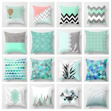 ZENGIA Blue/Green Geometric Cushion cover 45x45cm Marble Texture Throw Pillow Case Cushion Cover For Sofa/Home Decor Pillowcase(China)