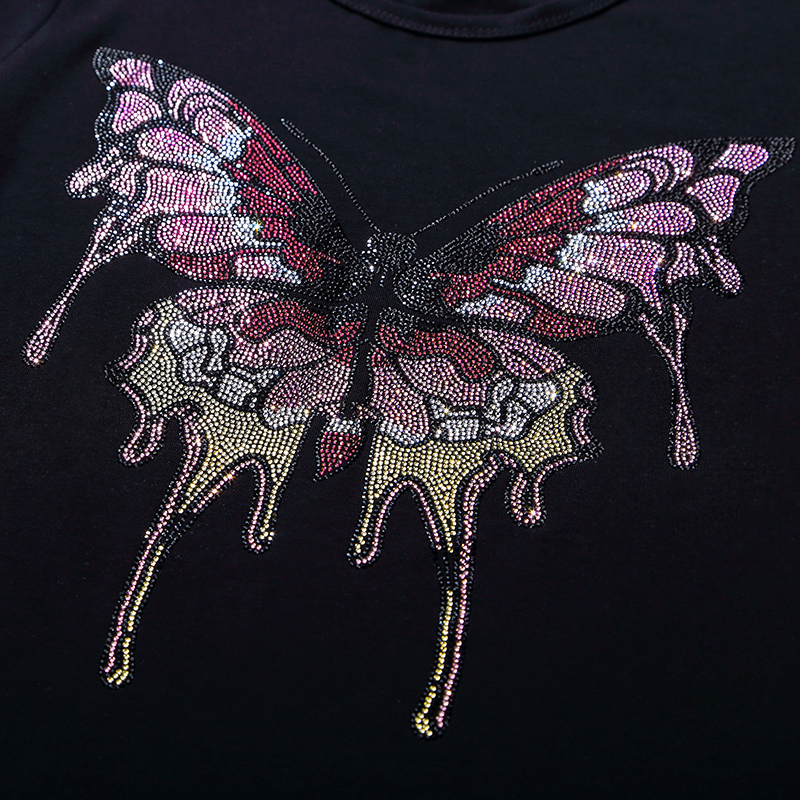 Big colorful butterfly hot fix rhinestone motif designs iron on crystal transfers design applique patches strass iron
