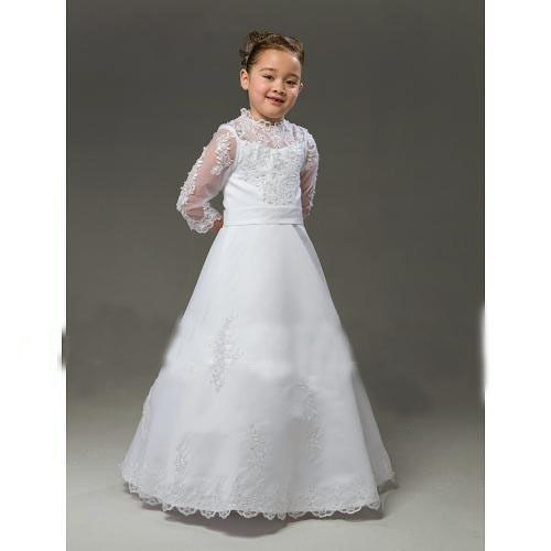 free shipping 2016 new hot custom ball gown handmade   flowers   bow buttons white ivory long sleeves high neck   Flower     Girl     Dresses