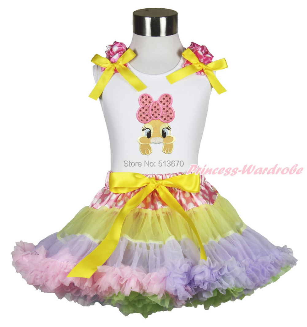Easter White Top Shirt Pink Bow Bunny Dot Waist Rainbow Girl Pettiskirt Set 1-8Y MAPSA0429 цена и фото