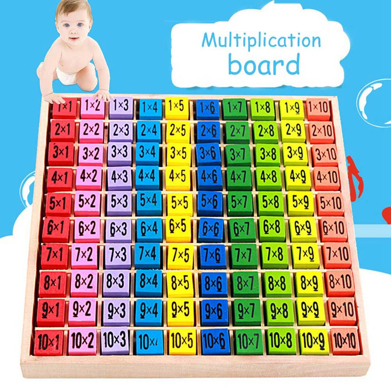Baby Early Educational Wooden Toys Children Kids 9 Multiplication Table Math Arithmetic Teaching Puzzle Toy Kids Gift