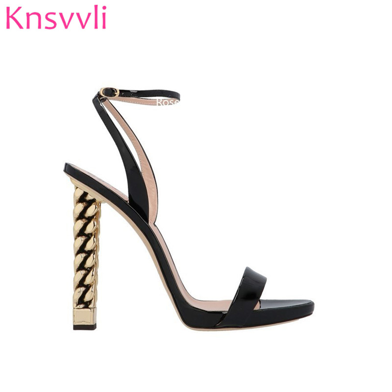 2019 New Black Patent leather High Heel Sandals Women Ankle Buckle Strap Runway Shoes Gold Chain Strange Heel Sandalias Mujer-in High Heels from Shoes    2