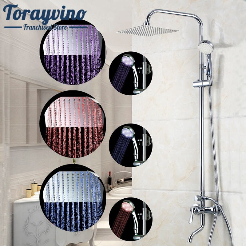 Shower Set 8 LED Luxury Bathrome Bathtub Rainfall Shower Head Polished Wall Mounted Swivel Mixer Taps Shower Faucets Set 8 led bathrome bathtub rainfall shower head polished wall mounted swivel mixer taps shower faucets set chrome finish